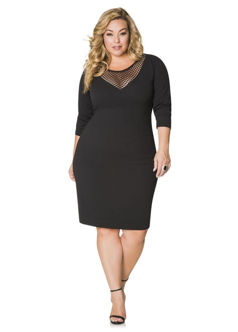 Ashley Stewart Textured Fishnet Yoke Dress  AshleyStewart  PlusSize   PlusSizeFashion 036384ffd99
