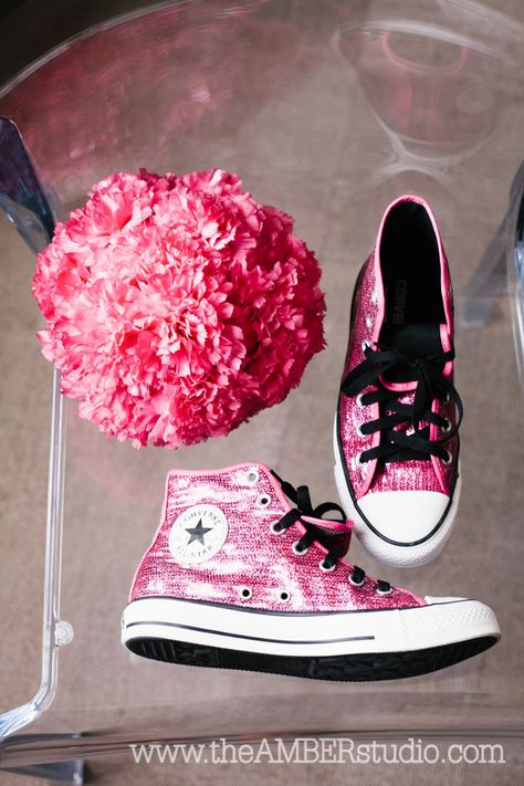Dallas Quinceanera. Orion Ballroom - Dallas. @Julie Gates the Box Catering . Pink quinceanera dress. Quinceanera ideas. Dallas Wedding Photographer. chuck taylor, converse, shoes, sparkle, glitter