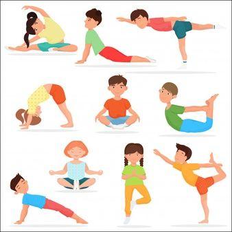 Conjunto De Ninos Lindos De Yoga Chico Yoga Ninos Dibujos Animados Yoga Vector