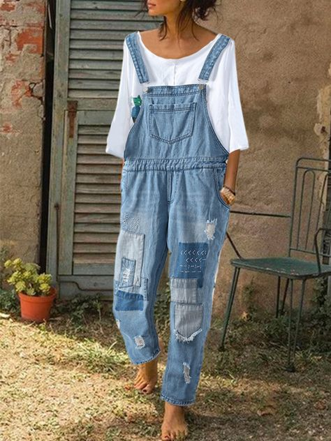 I found this amazing Embroidered Patchwork Straps Ripped Denim Jumpsuit For Women with US$38.99,and 14 days return or refund guarantee protect to us. Latest Outfit  Trendy Outfit. Clothes for women