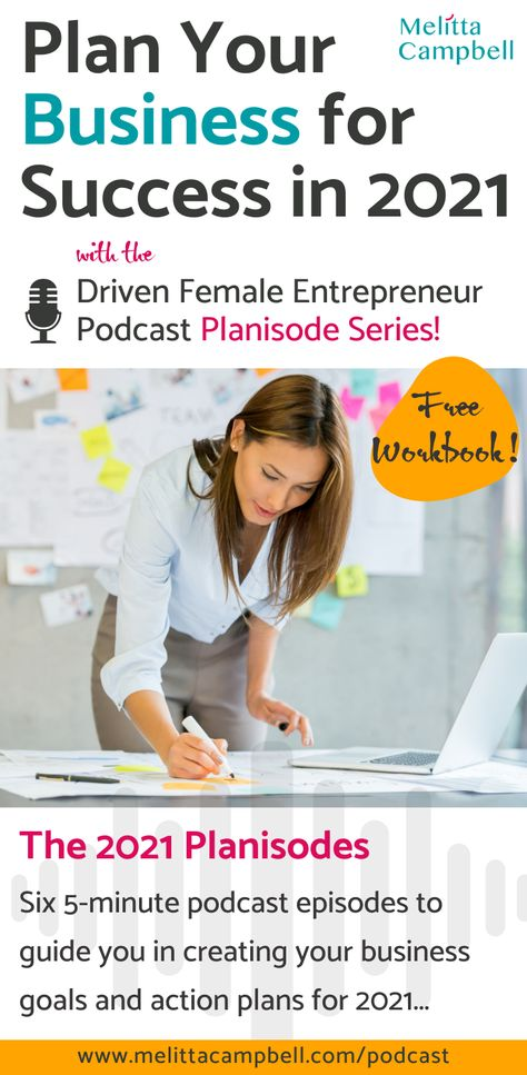 """Fail to plan and you Plan to Fail"" ...but not this year with the Driven Female Entrepreneur podcast 2021 Planisodes - a series of six 5-minute episodes to guide you in creating your business goals and action plans for 2021 so you can prepare for and create success. Includes a free downloadable workbook. #entrepreneurship #plan #goalsetting"