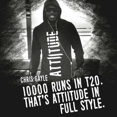 Team Attiitude congratulates the Universe Boss Chris Gayle for reaching the historic milestone, becomes first to score 10,000 T20 runs. A true boss. A true Attiitude!! #myattiitude #menswear #alternativestyle #Universeboss #T20