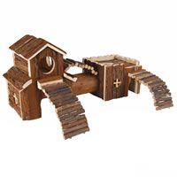 Wooden Block House Hamster & Degu Toy 'Frida' Extra Large,47x22x15 cm (6163)
