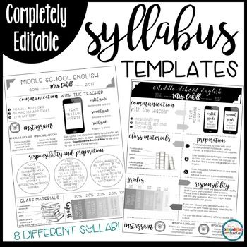 Syllabus Editable Syllabus Infographic Back To School Forms Open House Forms Meet The Teacher Forms Middle School Syllabus Syllabus Template School Forms
