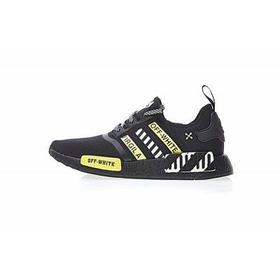 Cheap Mens Off White X Adidas Nmd R1 Boost Black White Lime Green