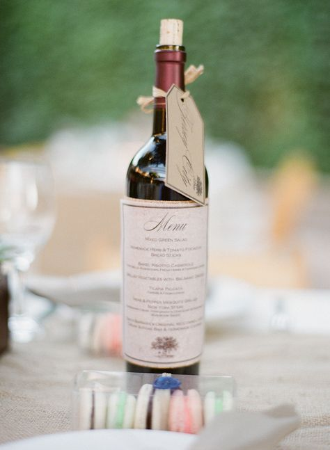 Dual-purpose Wine Bottle ~ Menu, Table Name ~ Photography by michaelandannacosta.com