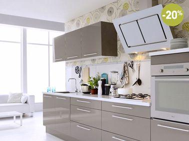 Cuisines Fly Blanche Taupe Et Rouge à Prix Canon Plan De - Fly plan de campagne pour idees de deco de cuisine