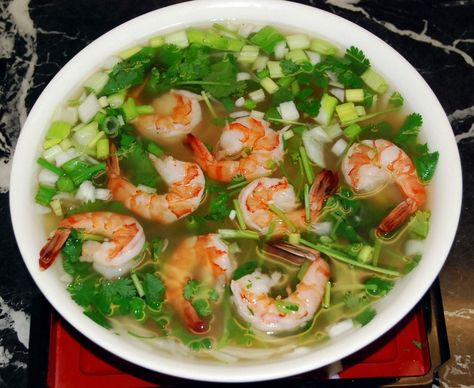 Vietnamese Pho noodle soup with shrimps