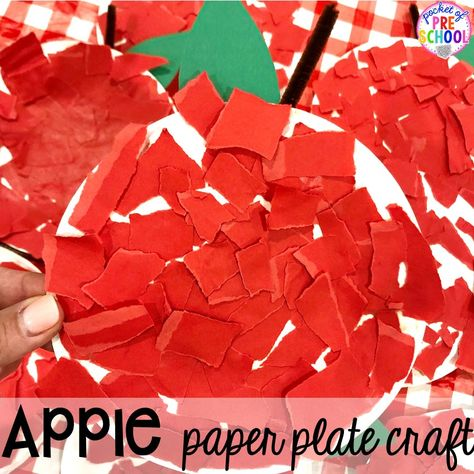 Apple paper plate craft plus more apple theme activities and centers perfect for preschool, pre-k, and kindergarten. #appletheme #preschool #prek #appleactivities