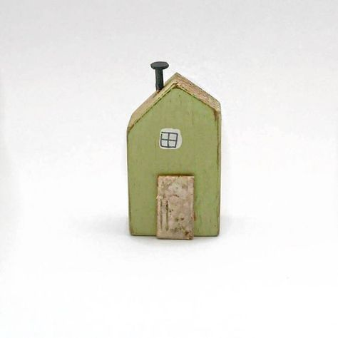 Little House Wood Ornament, Wooden Gifts, House Ornaments, Tiny Houses, Tiny Art, Wooden Houses Small, Tiny Collectables, Decoupage  House