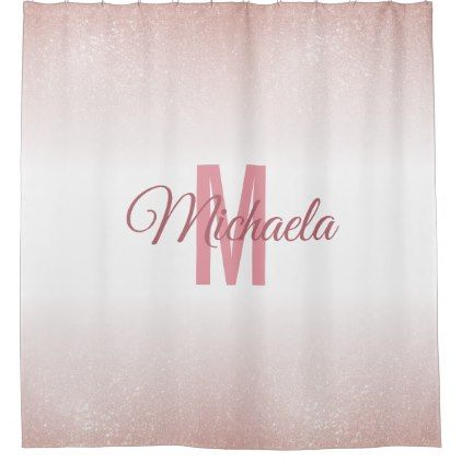 Girly Rose Gold Pink Monogram Initial Name Sparkly Shower Curtain