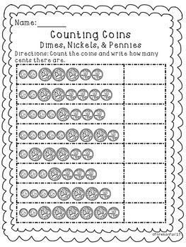 Counting Coins Worksheets Freebie Money 1st 2nd Grade