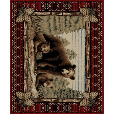 Lodge King Grizzly Gap Cabin Red Area Rug Bear Area Rug Area Rugs Red Area Rug