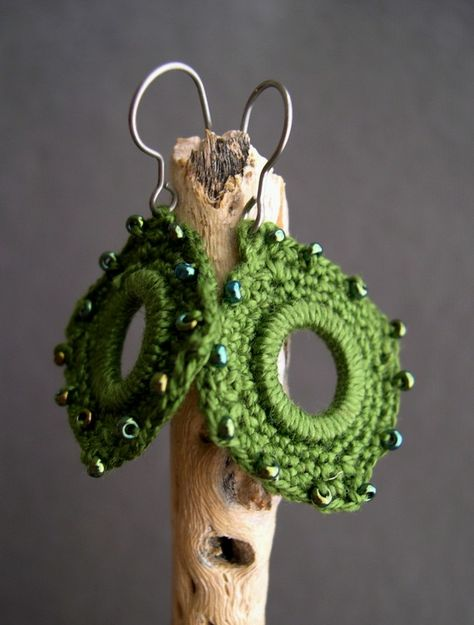 Olive Green #Crochet #Earrings  Unique Mother's day gift