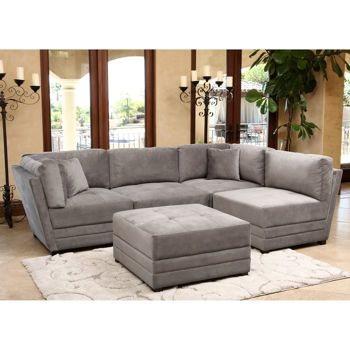 Leyla 5-piece Fabric Modular Sectional - Taupe Gray | Living ...