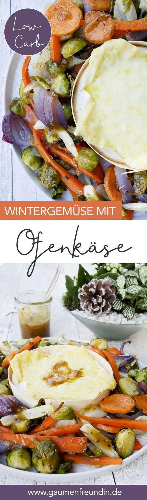 Enthält Werbung. Knackiges Wintergemüse (Rosenkohl, Möhren, Süßkartoffeln, Fenchel) mit zart-schmelzendem Ofenkäse - ein leckeres Low Carb Gericht für die Winterzeit - Gaumenfreundin Foodblog #ofenkäse #ofengemüse #rosenkohl #fenchel #sü�kartoffeln #möhre