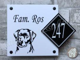 Wonderbaarlijk Voordeur bordje met naam, huisnummer en afdruk van een Labrador KN-49