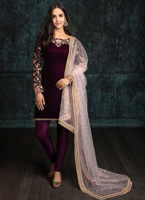 Deep Plum and Light Pink Velvet Churidar Suit