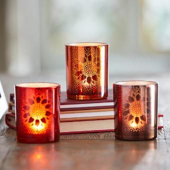 with White Metal Tray.... TEALIGHT HOLDER ~ ~ Holds 2 Tea Lights frosted glass