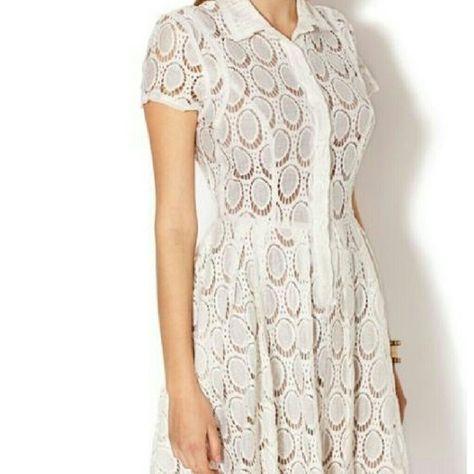 Bcbgmaxazria Kiran Cotton Blend Lace Shirt Dress Lace Shirt Dress Dresses Bcbgmaxazria Dresses
