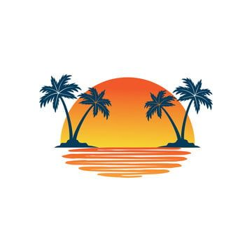 Orange Yellow Sunset Between Two Coconut Tree Island With Shadow On The Sea Vector Logo Design Beach Vector Logo Png And Vector With Transparent Background F Vector Logo Design Vector Logo
