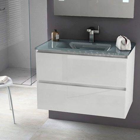 Cordoue, Meuble salle de bain 81 cm blanc brillant, vasque ...