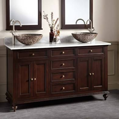 Double Bowl Sink Vanity.60 Keller Mahogany Double Vessel Sink Bathroom Vanity