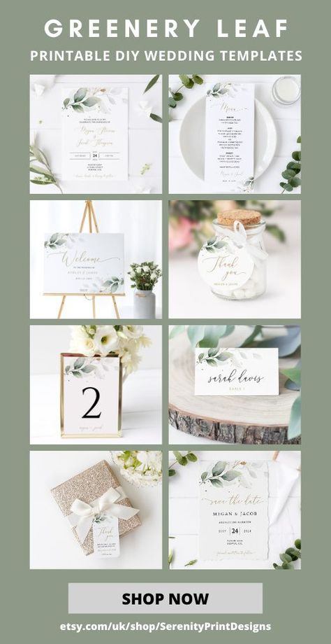 Get affordable wedding stationary which you can edit  personalize to your hearts content. We sell wedding invitations, wedding signs, save the dates, favor tags, menus, table numbers  many more templates. All our templates are instantly downloadable  with you in minutes so you can start creating! This greenery leaf theme is one of many designs we offer. Please click the link to browse all our templates  try out the FREE product demos #weddingstationary #greenerywedding #bohowedding #wedding