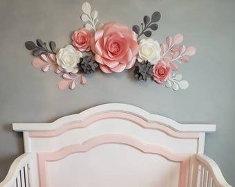 Soft Pink Paper Flower Wall Decor Nursery Wall Decor Paper Etsy Paper Flower Wall Decor Flower Nursery Paper Flowers