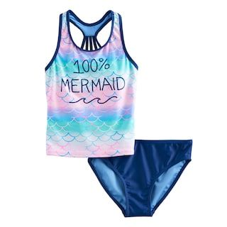 Angel Beach Girls Little Tye Dye Mermaid Foil Tankini Swim Set