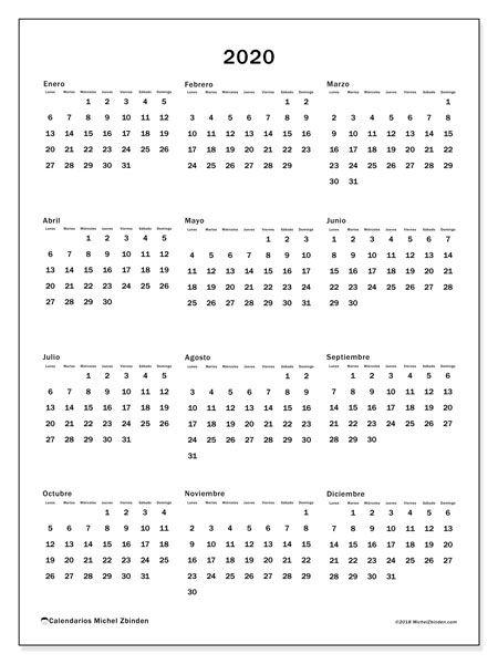 Pdf Calendario 2020.Imprimir Calendario 2020