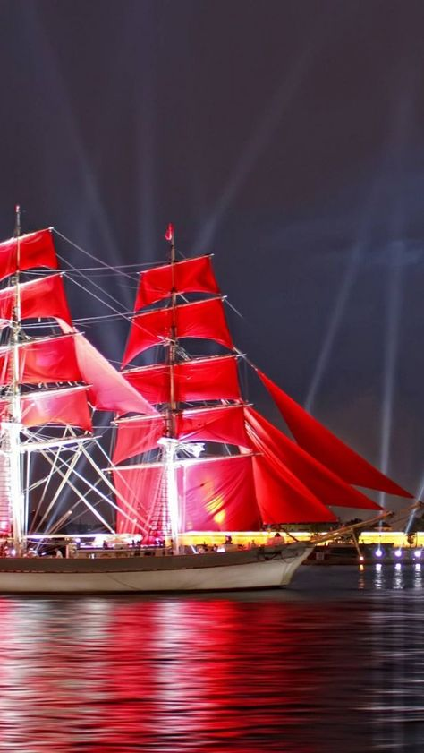 Bright red sails