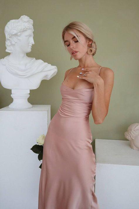 Silk Bridesmaid Dresses, Grad Dresses, Satin Dresses, Strapless Dress Formal, Pink Silk Dress, Silk Midi Dress, Sheath Dress, Dress Backs, Dress Up