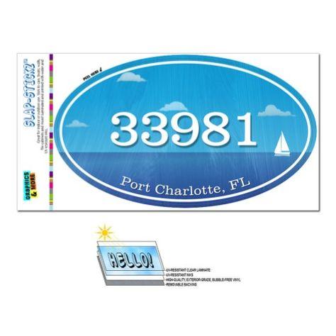 33981 Port Charlotte Fl Ocean Nautical Oval Zip Code Sticker