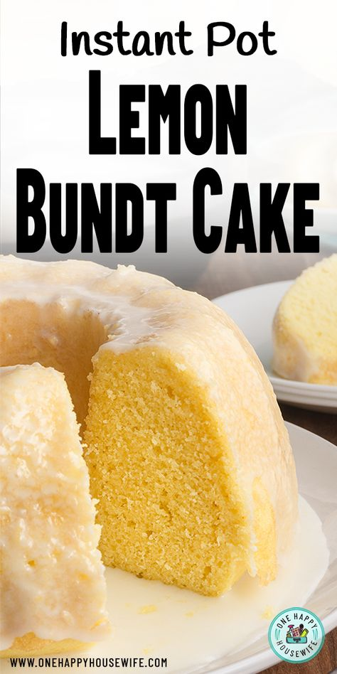This recipe for Instant Pot Lemon Cake uses a boxed cake mix combined with a fantastic homemade lemon glaze. Super easy to make and you get a delicious and moist lemon cake with no need to turn on the oven. via pot recipes cake Easy Instant Pot Lemon Cake Instant Pot Cake Recipe, Instant Pot Dinner Recipes, Pot Recipe, Lemon Bundt Cake, Lemon Cake Mixes, Vanilla Cake, Lemon Cakes, Cake Mix Recipes, Dessert Recipes