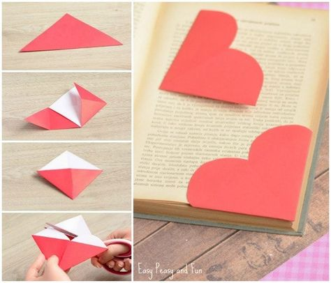 Heart Corner Bookmarks – Easy Peasy and Fun - Origami Origami Bookmark Corner, Bookmark Craft, Diy Bookmarks, Corner Bookmarks, Bookmark Template, Oragami Bookmark, Useful Origami, Diy Origami, Heart Origami