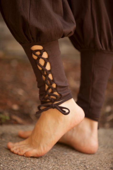 Lace Up Yoga Harem Pant with Cut Out lace up Ankle by ElvenForest~*~ click +More for color and sizing information ~*~ ·········································· These are great to move in, simple fitted top a