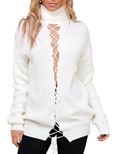 851059b25c Glamaker Womens Pullover Lace Up Knit Sweater Long Sleeves Turtleneck  Sweater Hollow Out White     Learn more by visiting the image link.