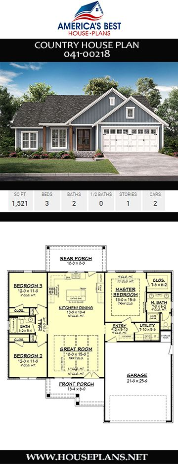 House Plan 041 00218 Country Plan 1 521 Square Feet 3 Bedrooms 2 Bathrooms Country House Plan Beach House Plans Garage House Plans
