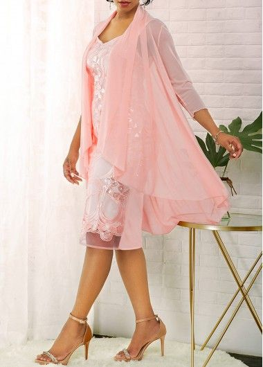 Chiffon Cardigan And Light Pink Shiny Lace Dress Liligal