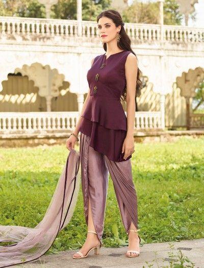 5a666f530ed3 ... wedding & party wear salwar kameez. Maroon Silk Fabric Dhoti Suit,  dhoti style salwar suit, dhoti suits for women,