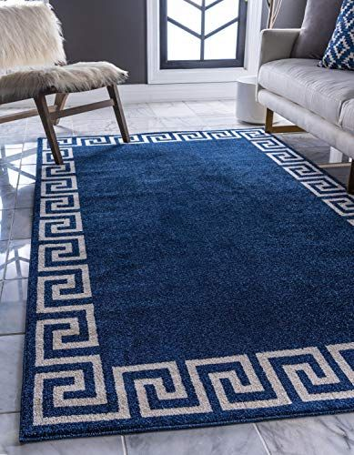 Unique Loom Athens Collection Geometric Casual Modern Border Navy Blue Area Rug 6 X 9 Usa Unique Loom Greek Key Rug Rugs In Living Room