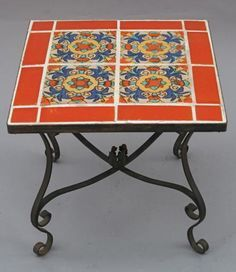 Early California Tile Table With Iron Base Tiled Tables Antique Monterey Rancho And Furniture Lighting At Revival Antiques