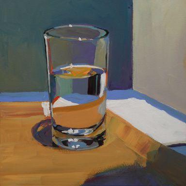 2011 Bermuda Paintings / Glass of Water / Jana Matusz Guache, Pretty Art, Aesthetic Art, Oeuvre D'art, Painting Inspiration, All Art, Painting & Drawing, Still Life, Amazing Art