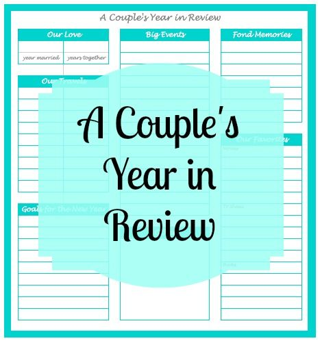 A Couple\'s Year in Review - a Fully Customizable Worksheet for you ...