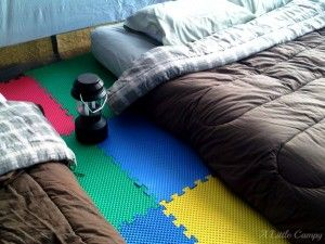 Best idea EVER!  The foam tiles make tent camping so much more comfortable! Foam-Floor-Tiles-for-Tents