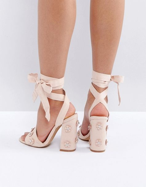 3d6c105effc Get this Coco Wren s heeled sandals now! Click for more details. Worldwide  shipping. Coco Wren 3d Flower Trim Block Heel Sandal - Beige  Sandals by  Coco ...