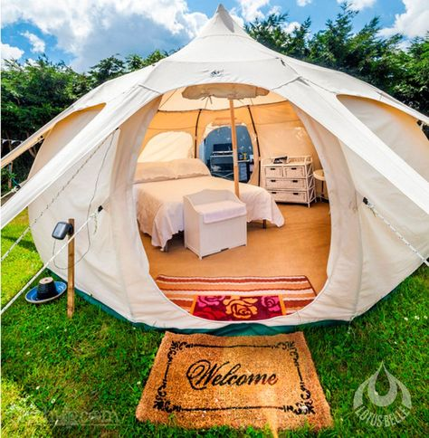 Lotus Belle glamping tents | These could be good temporary living while we get our cabins built
