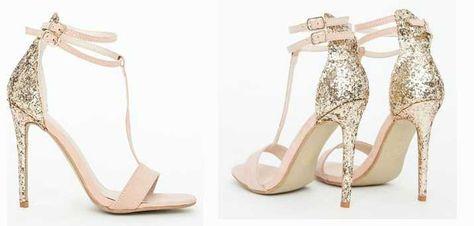 Missguided 'Pamela' nude glitter heel sandals