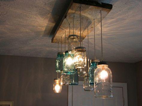 Love this mason jar chandelier!  #DIY